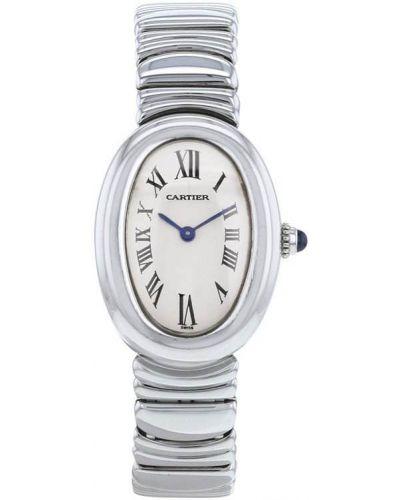 Пуховые серебряные кварцевые часы с кварцем Cartier