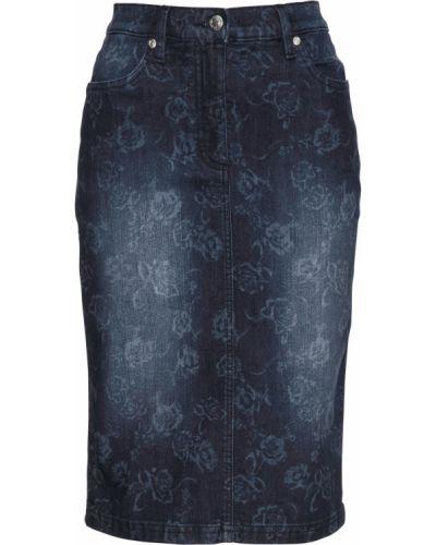 Джинсовая юбка белая синяя Bonprix