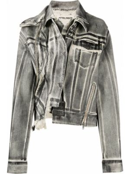 Ватная черная джинсовая куртка с воротником Ottolinger