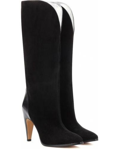 Zamsz czarny buty obcasy w połowie kolana Givenchy