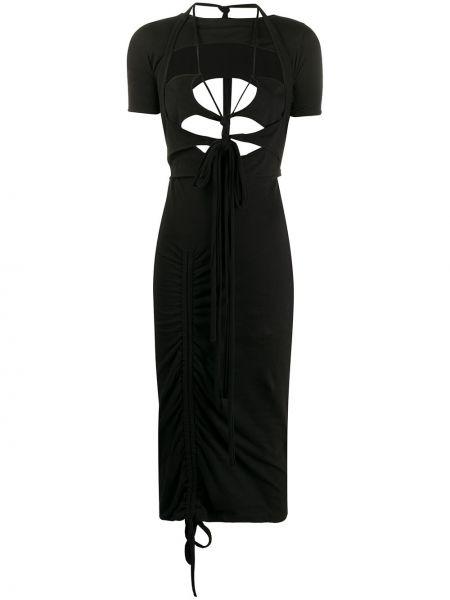 Черное приталенное платье миди с оборками с короткими рукавами Hyein Seo