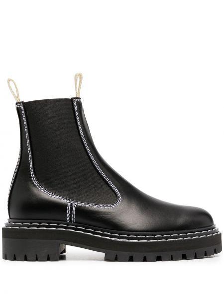Skórzany czarny buty skórzane okrągły okrągły nos Proenza Schouler