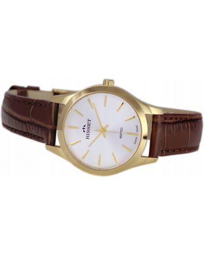 Brązowy klasyczny złoty zegarek Bisset
