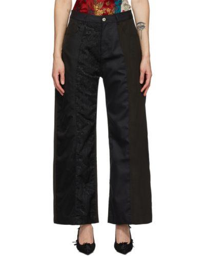 Хлопковые черные брюки с карманами Marques Almeida