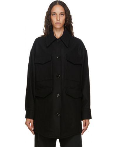 Шерстяное черное длинное пальто оверсайз Mm6 Maison Margiela