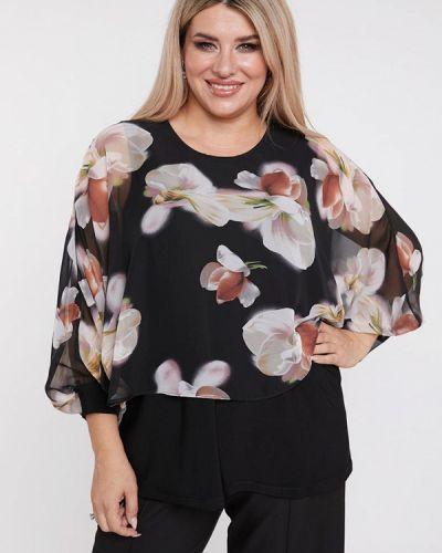 Черная блузка с длинным рукавом с длинными рукавами Luxury Plus