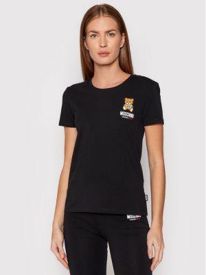 T-shirt - czarna Moschino Underwear & Swim