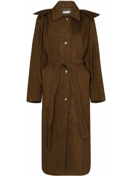 Коричневое пальто классическое с капюшоном из альпаки Rejina Pyo