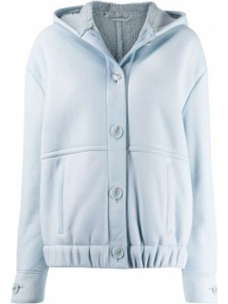 Синяя кожаная куртка с капюшоном Inès & Maréchal