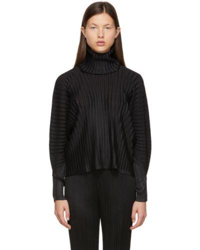 С рукавами черный длинный свитер с воротником Pleats Please Issey Miyake
