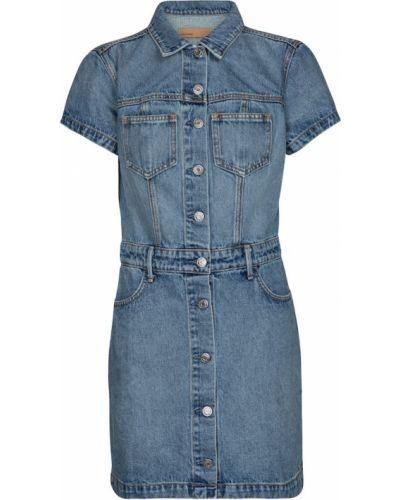Niebieska sukienka jeansowa bawełniana Grlfrnd