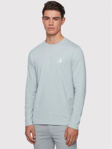 Niebieski koszulka z długim rękawem Boss