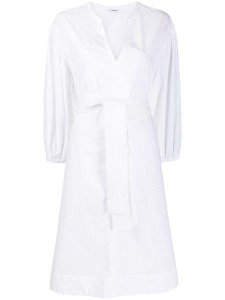 Хлопковое с рукавами белое платье А-силуэта P.a.r.o.s.h.