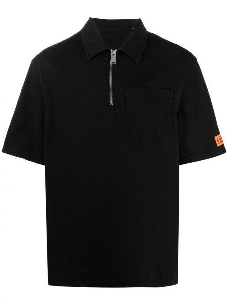 Czarna klasyczna koszula krótki rękaw bawełniana Heron Preston