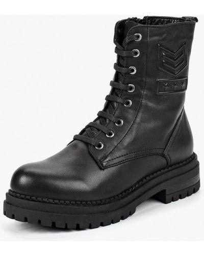 Кожаные ботинки осенние черные Pierre Cardin