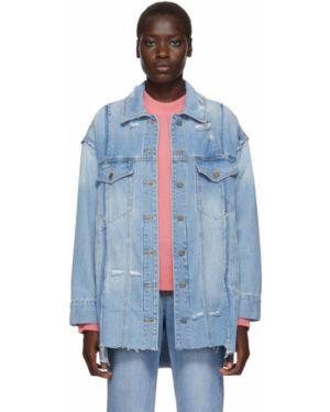 Джинсовая куртка длинная серебряная Sjyp