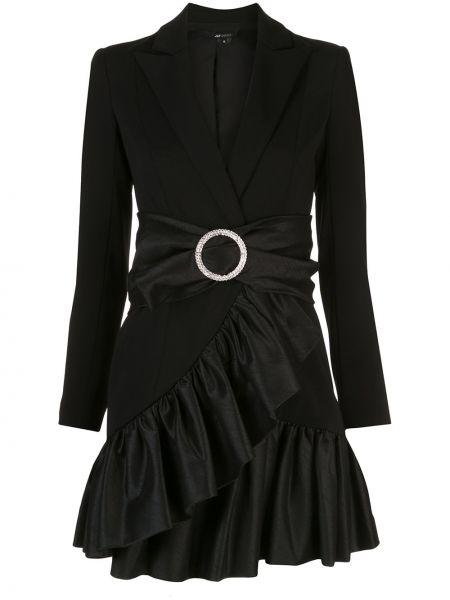 Черное платье с V-образным вырезом на молнии с оборками Jay Godfrey