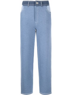 С завышенной талией хлопковые синие брюки Barrie