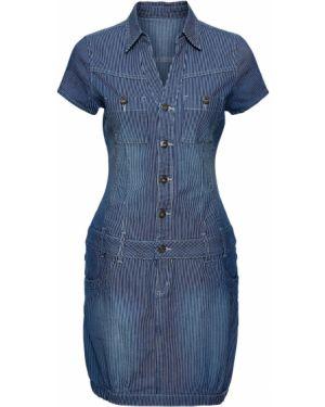 Джинсовое платье в полоску с карманами Bonprix