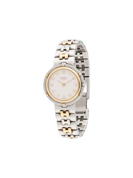 Со стрелками серебряные часы круглые Hermes