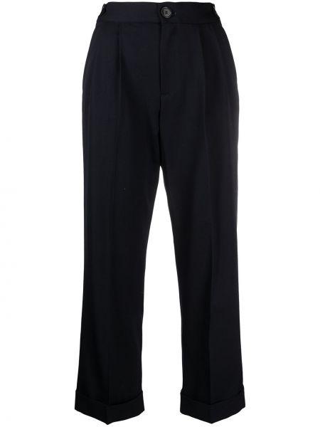 Шерстяные синие укороченные брюки с карманами Masscob
