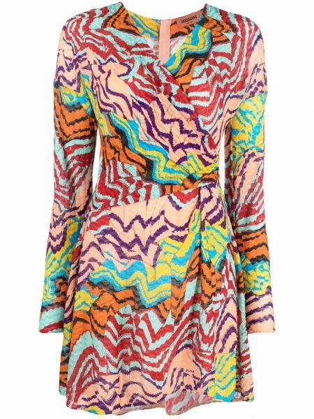 Платье макси с длинными рукавами - розовое Missoni