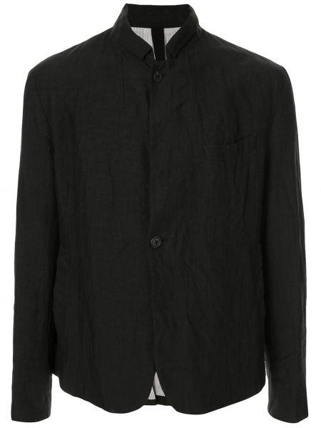 Черная рубашка с воротником свободного кроя на пуговицах Forme D'expression