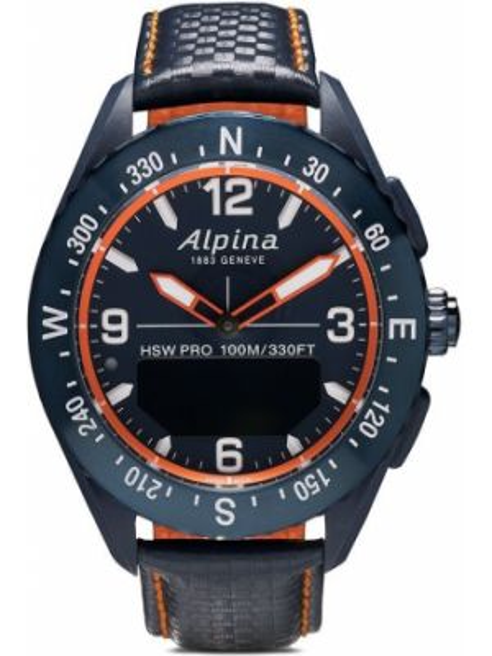 Кожаные синие часы круглые Alpina