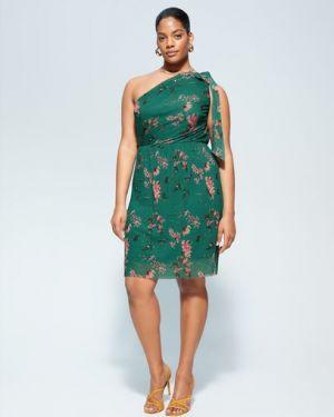 Платье с цветочным принтом приталенное Mango