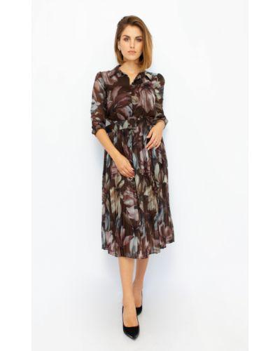 Платье в цветочный принт - коричневое Espiga
