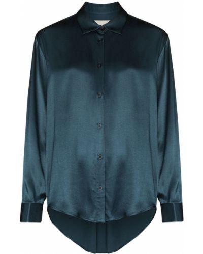 Синяя классическая рубашка оверсайз с воротником Asceno