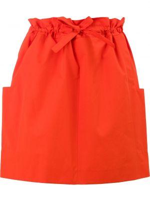 С завышенной талией красная юбка мини с карманами Maison Rabih Kayrouz