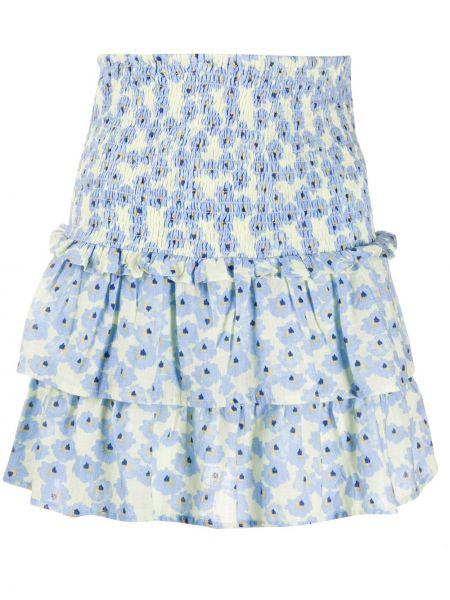 Хлопковая синяя юбка на молнии с оборками Cecilie Copenhagen