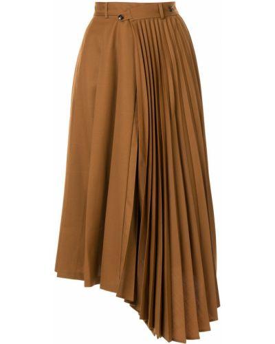 Асимметричная юбка миди с поясом из верблюжьей шерсти в рубчик Le Ciel Bleu