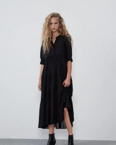 Платье-комбинация - черное Zara