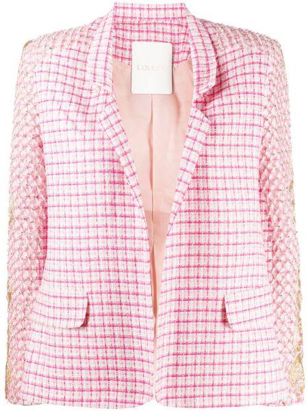 Розовый пиджак в клетку с вышивкой Loulou