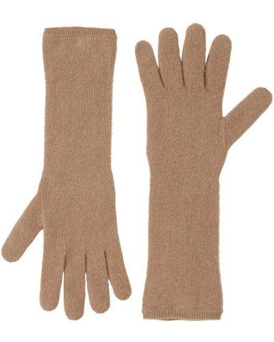 Prążkowane z kaszmiru rękawiczki camel Max Mara