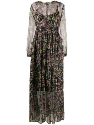 Расклешенное шелковое платье макси прозрачное с вырезом La Doublej