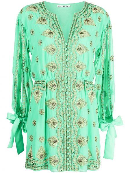 Зеленое платье макси с вышивкой с завязками Alice+olivia