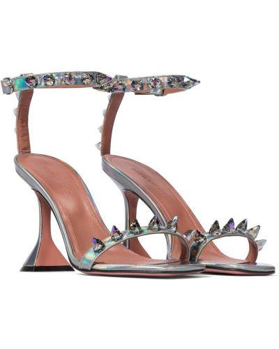 Серебряные кожаные сандалии на каблуке Amina Muaddi