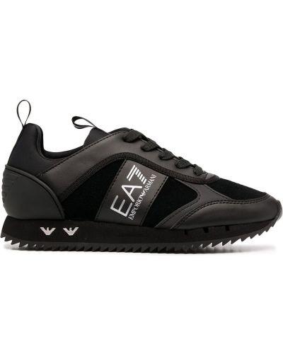 Кожаные черные кроссовки сетчатые на шнуровке Ea7 Emporio Armani