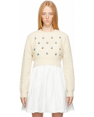 Белый укороченный свитер Sandy Liang