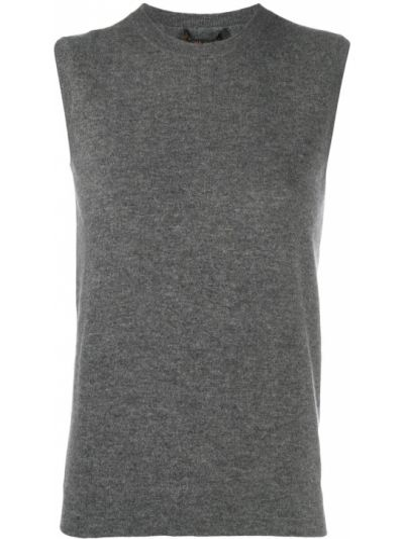 Кашемировый серый топ без рукавов с круглым вырезом Agnona