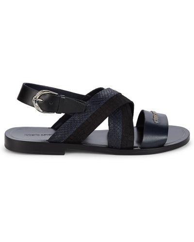 Открытые кожаные с ремешком сандалии Roberto Cavalli