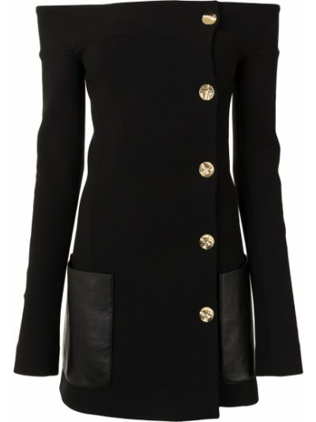 Шерстяной черный пиджак с открытыми плечами Proenza Schouler