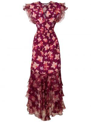 Шелковое с рукавами платье макси с поясом Isolda