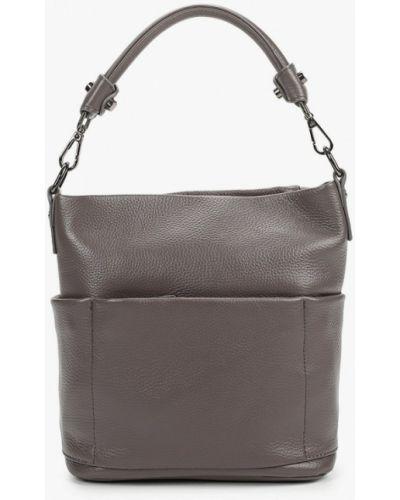Серая сумка через плечо из натуральной кожи Valensiy