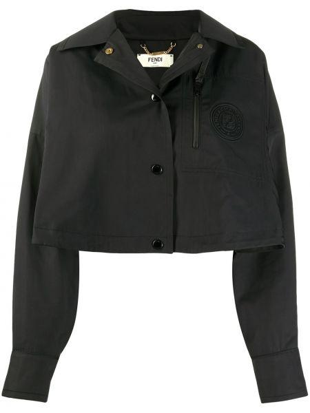 Kurtka czarny kurtka z łatami Fendi