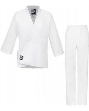 Белое хлопковое спортивное кимоно на торжество Green Hill