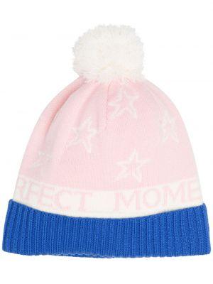 Розовая шапка бини с помпоном с отворотом Perfect Moment
